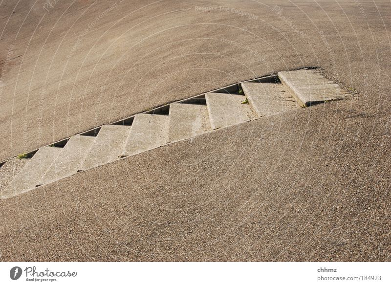 staircase Subdued colour Exterior shot Copy Space top Copy Space bottom Day Shadow Contrast Coast North Sea Island Texel Stairs Stone Concrete Loneliness Upward