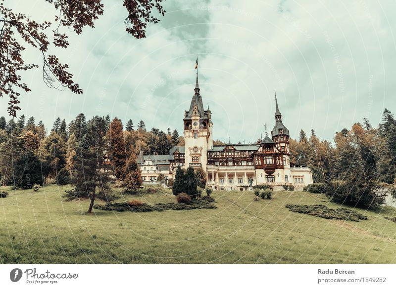 Neo-Renaissance Peles Castle Built In 1873 In Romania Sky Nature Vacation & Travel Blue Colour City Green Beautiful Tree Landscape Clouds Forest Environment