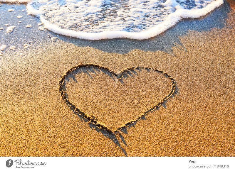 Heart drawn on the beach sand Nature Vacation & Travel Blue Summer Water Sun Ocean Landscape Relaxation Joy Beach Yellow Love Natural Coast Sand