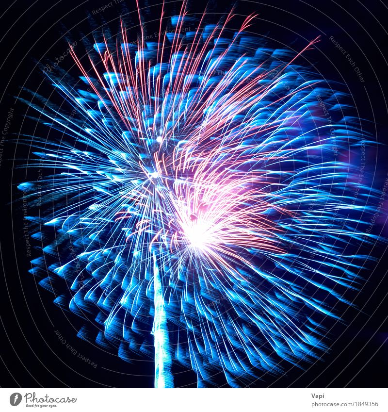 Blue and red colorful holiday fireworks Joy Beautiful Night life Entertainment Party Feasts & Celebrations Christmas & Advent New Year's Eve Sky Night sky Dark