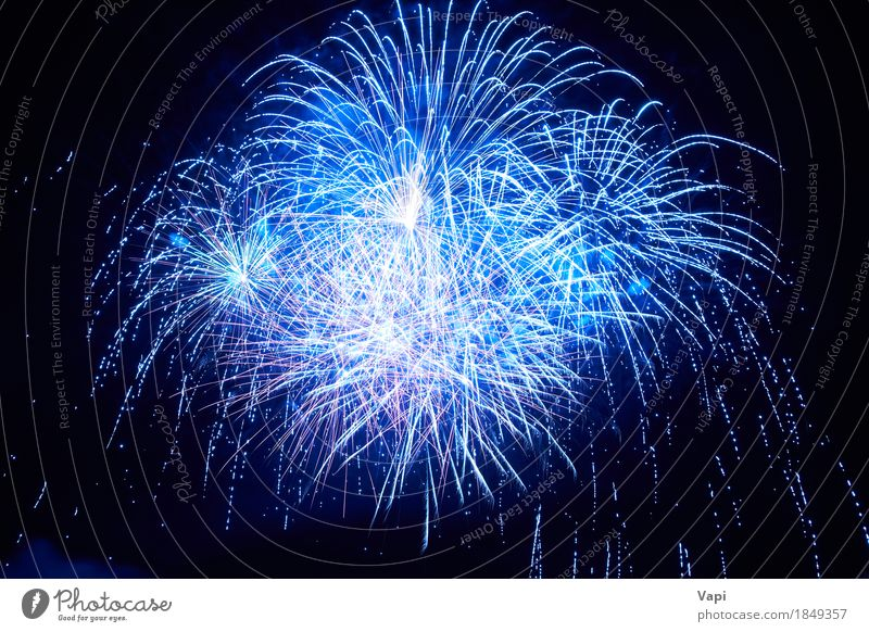 Blue colorful fireworks Joy Happy Beautiful Night life Entertainment Party Event Feasts & Celebrations Christmas & Advent New Year's Eve Art Sky Night sky Dark