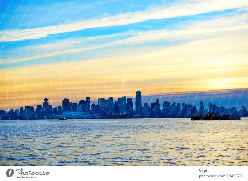 Night city, panoramic scene of downtown Sky Vacation & Travel Blue City Beautiful Ocean Landscape Red Clouds Black Environment Architecture Yellow Building