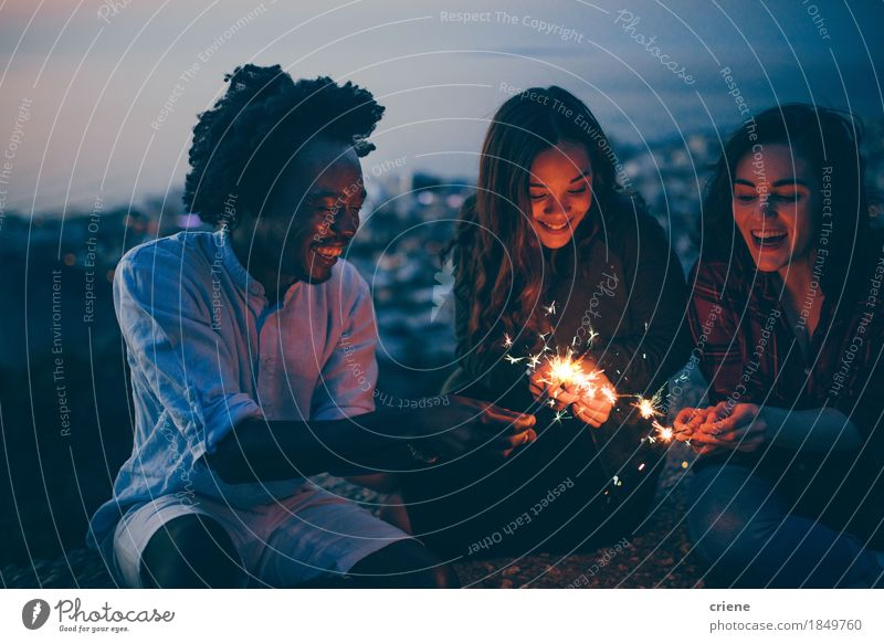young adults celebrating new years eve with sparklers Youth (Young adults) Summer Joy 18 - 30 years Adults Emotions Lifestyle Freedom Feasts & Celebrations Couple Moody Together Friendship Sit Birthday Happiness