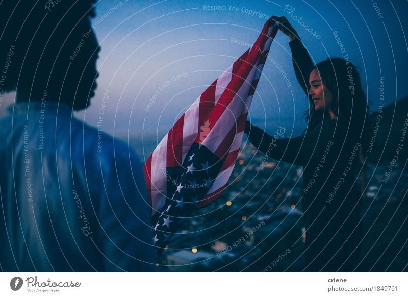 Friends waving USA flag at sunset in urban scene Vacation & Travel Youth (Young adults) City Young woman Young man Joy Adults Lifestyle Freedom