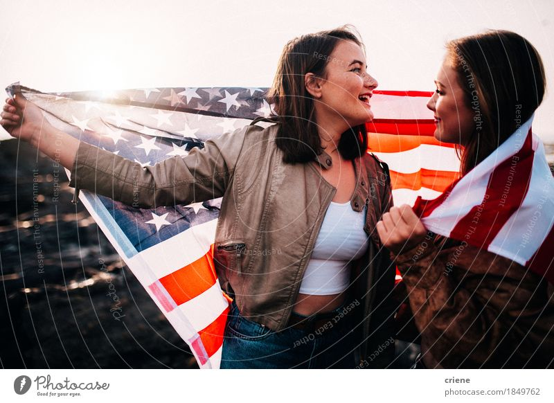 Young teenager girls having fun with USA flag at the beach Human being Vacation & Travel Youth (Young adults) Young woman Joy Beach 18 - 30 years Adults Lifestyle Laughter Freedom Together Tourism Friendship Trip 13 - 18 years