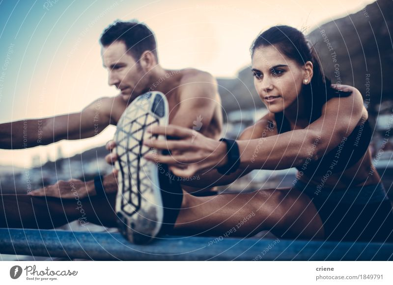 Caucasian young adult couple doing stretching after Run outdoors Human being Youth (Young adults) Relaxation Joy 18 - 30 years Adults Sports Happy Couple Body