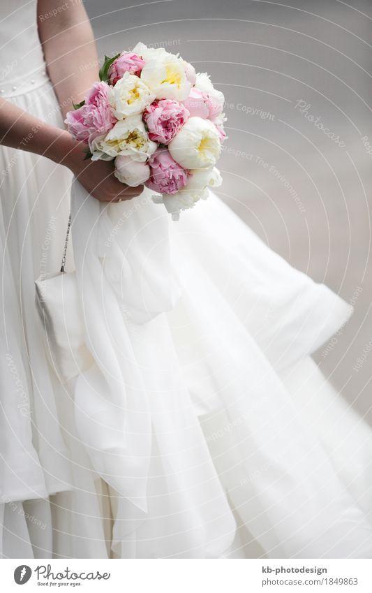 Bridal bouquet of colorful flowers Feasts & Celebrations Wedding Couple Partner Tulip Dress Bouquet Love bloom bridal bride sign ceremony church floret gown