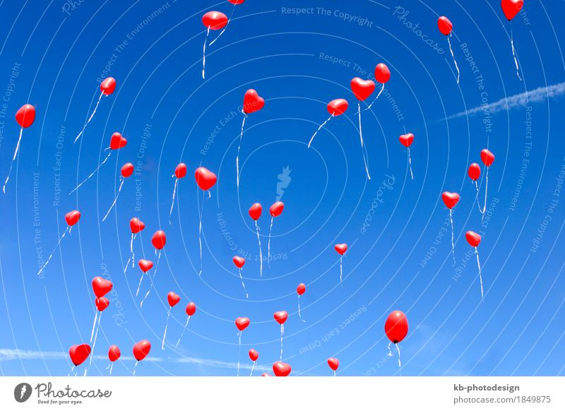 Red heart balloons in the sky Feasts & Celebrations Valentine's Day Mother's Day Wedding Love Emotions Spring fever Passion Trust Together Infatuation Romance