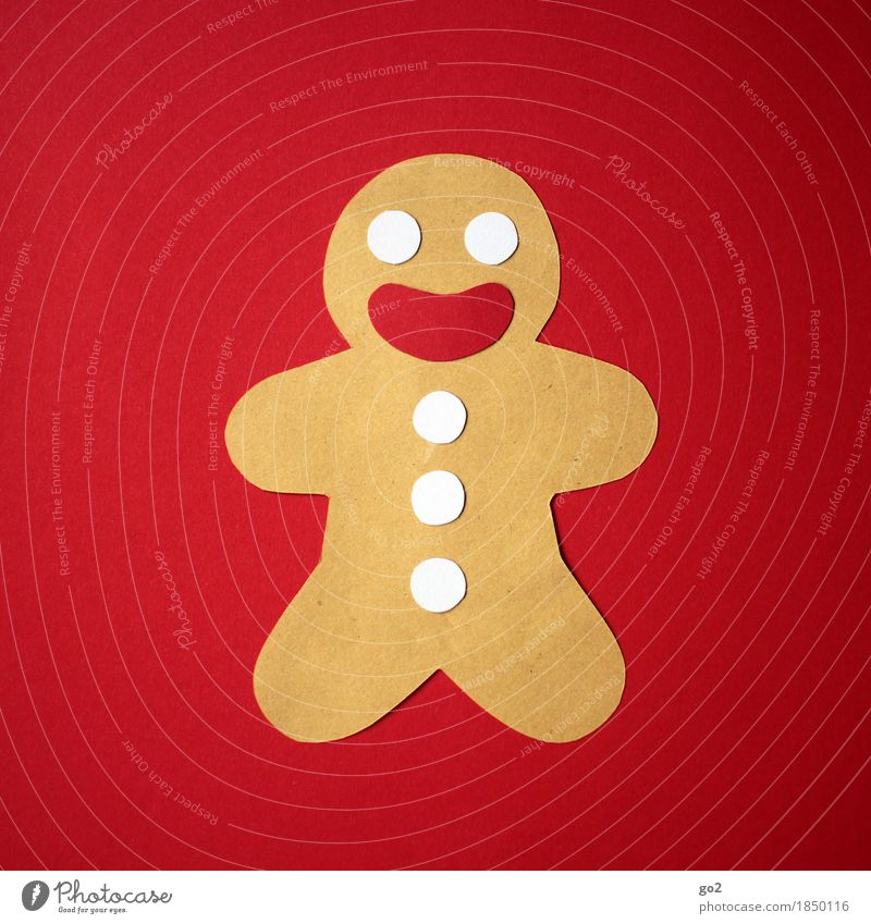Christmassy Gingerbread man Leisure and hobbies Handicraft Christmas & Advent Paper Smiling Laughter Happiness Brown Red Colour photo Interior shot Studio shot