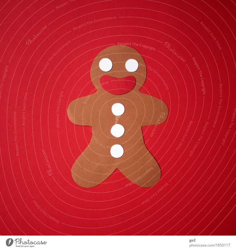 Paper gingerbread man Dough Baked goods Gingerbread Gingerbread man Nutrition Leisure and hobbies Christmas & Advent Decoration Delicious Funny Cute Sweet Red
