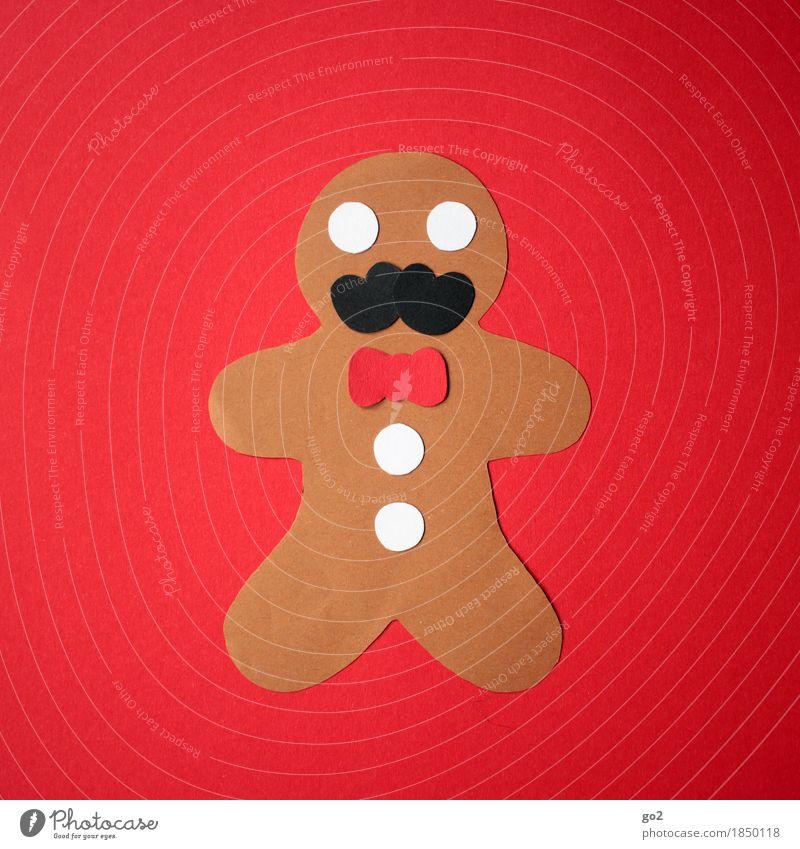 gingerbread schnauzman Dough Baked goods Nutrition Eating Style Design Joy Leisure and hobbies Handcrafts Handicraft Bow tie Moustache Buttons
