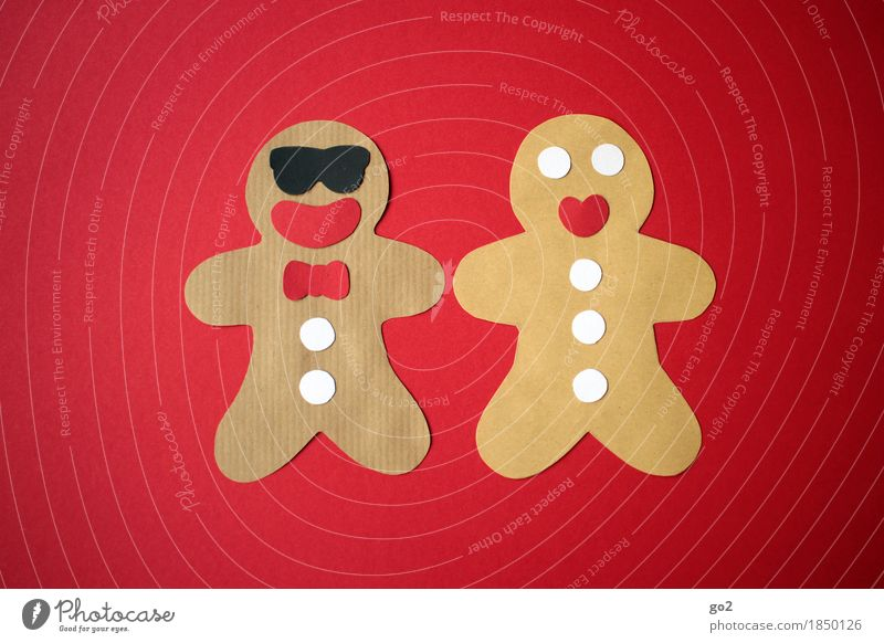 gingerbread couple Leisure and hobbies Handicraft Masculine Feminine Couple Decoration Kitsch Odds and ends Paper Funny Brown Red Colour photo Interior shot