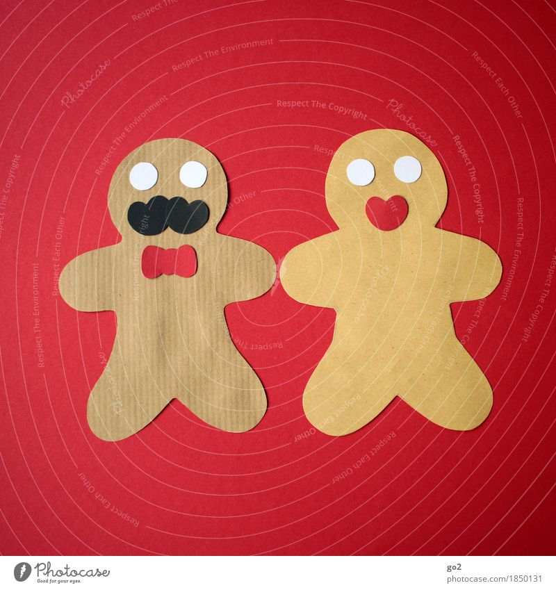 Christmas & Advent Red Feminine Brown Masculine Leisure and hobbies Nutrition Decoration Creativity Paper Relationship Baked goods Handicraft Dough Gingerbread Gingerbread man