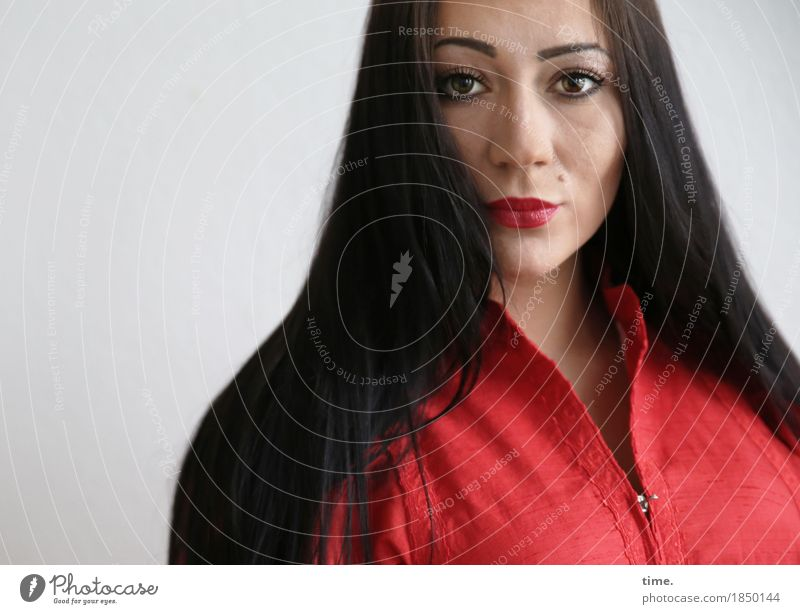 nastya Feminine 1 Human being Dress Black-haired Long-haired Observe Think Looking Esthetic Beautiful Self-confident Cool (slang) Power Willpower Might Brave
