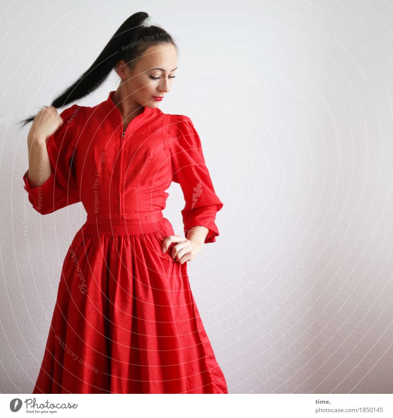 . Feminine 1 Human being Dress Black-haired Long-haired Braids Observe To hold on Looking Stand Elegant Beautiful Red Contentment Self-confident Power Willpower