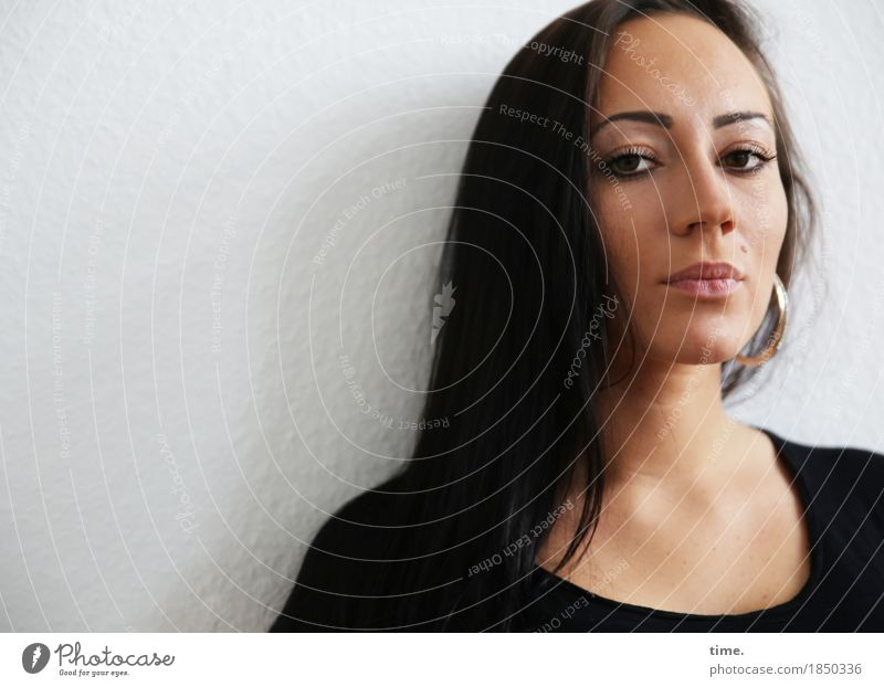 nastya Feminine 1 Human being Wall (barrier) Wall (building) Sweater Earring Black-haired Long-haired Observe Think Looking Wait Beautiful Self-confident