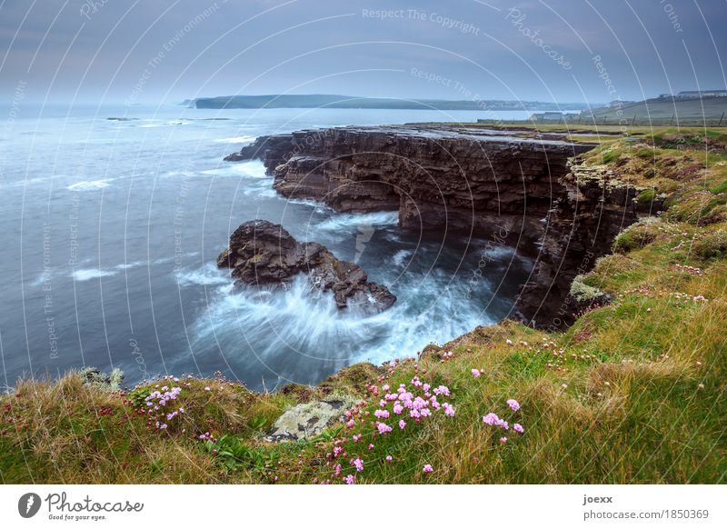 between inside and outside Landscape Sky Clouds Horizon Weather Bad weather Meadow Rock Waves Coast Ocean Island Ireland Maritime Beautiful Blue Brown Gray