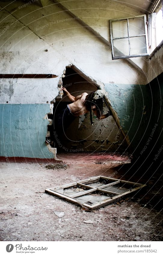 Human being Cold Dark Window Wall (building) Building Wall (barrier) Dirty Skin Masculine Factory Climbing Derelict Creepy Hollow Hang