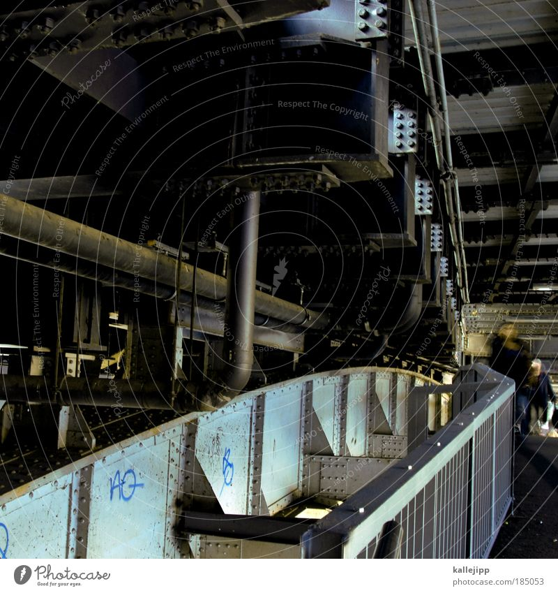 bridge Lifestyle Human being 2 Populated Bridge Tunnel Manmade structures Architecture Pedestrian Power Iron Steel Steel carrier Stability Handrail Underground