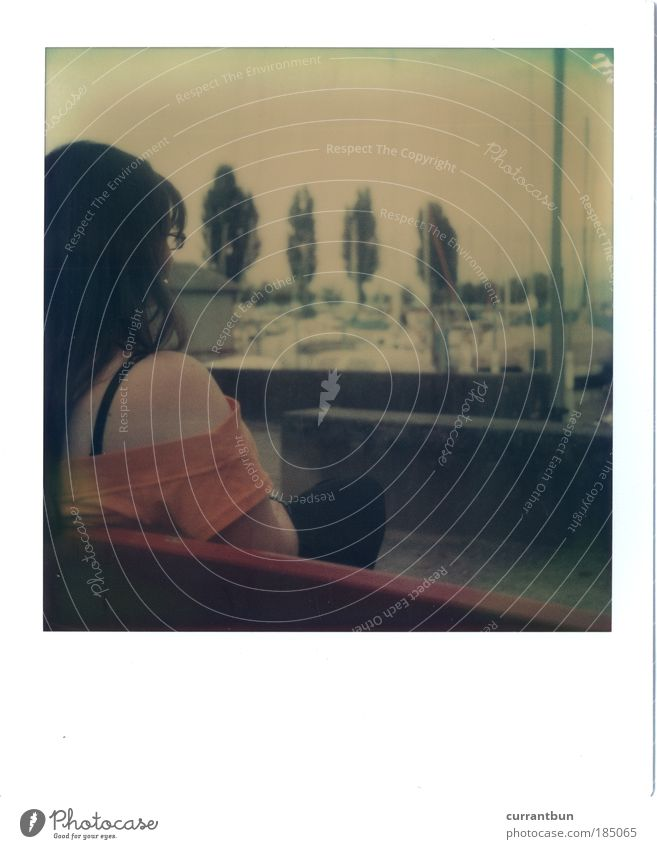 Woman Water Calm Loneliness Polaroid Contentment Bench Switzerland Harbour Seating Furniture