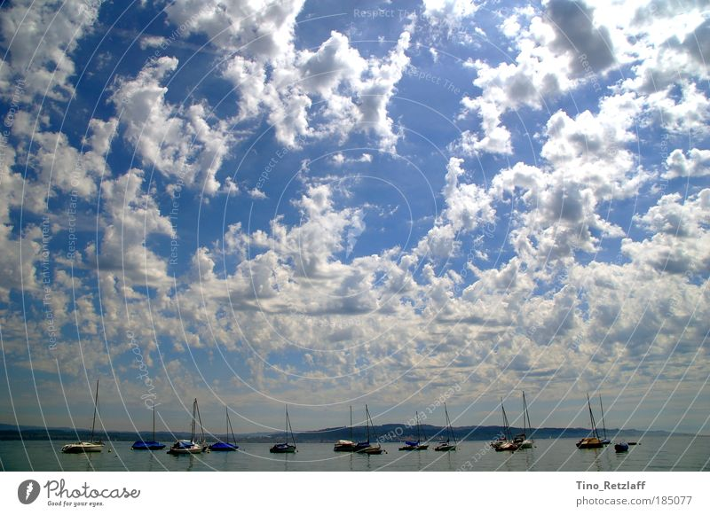 clouds Nature Landscape Air Water Sky Clouds Summer Beautiful weather Lake Boating trip Fishing boat Yacht Sailboat Harbour Dream Large Blue Colour photo
