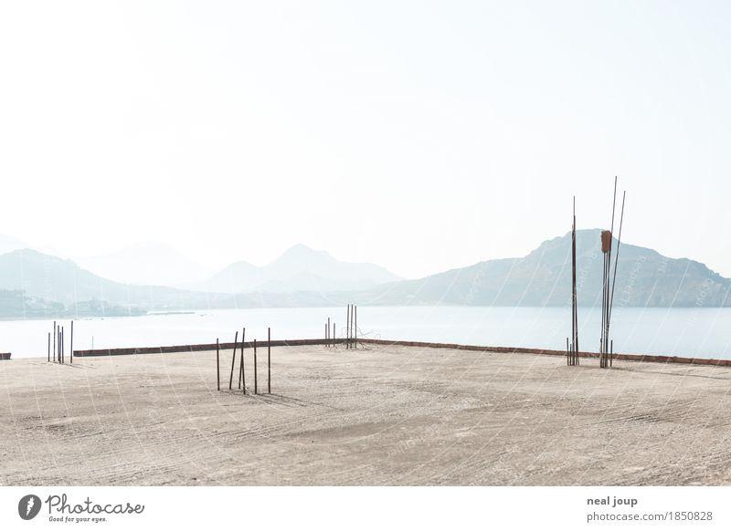 Blue Landscape Loneliness Calm Far-off places Mountain Architecture Coast Building Gray Above Horizon Esthetic Island Uniqueness Simple