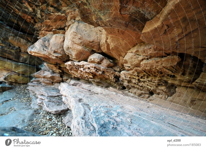 stony Environment Nature Summer Rock Mountain Canyon Stand Illuminate Old Esthetic Yellow Gold Gray Power Contentment Colour photo Subdued colour Exterior shot