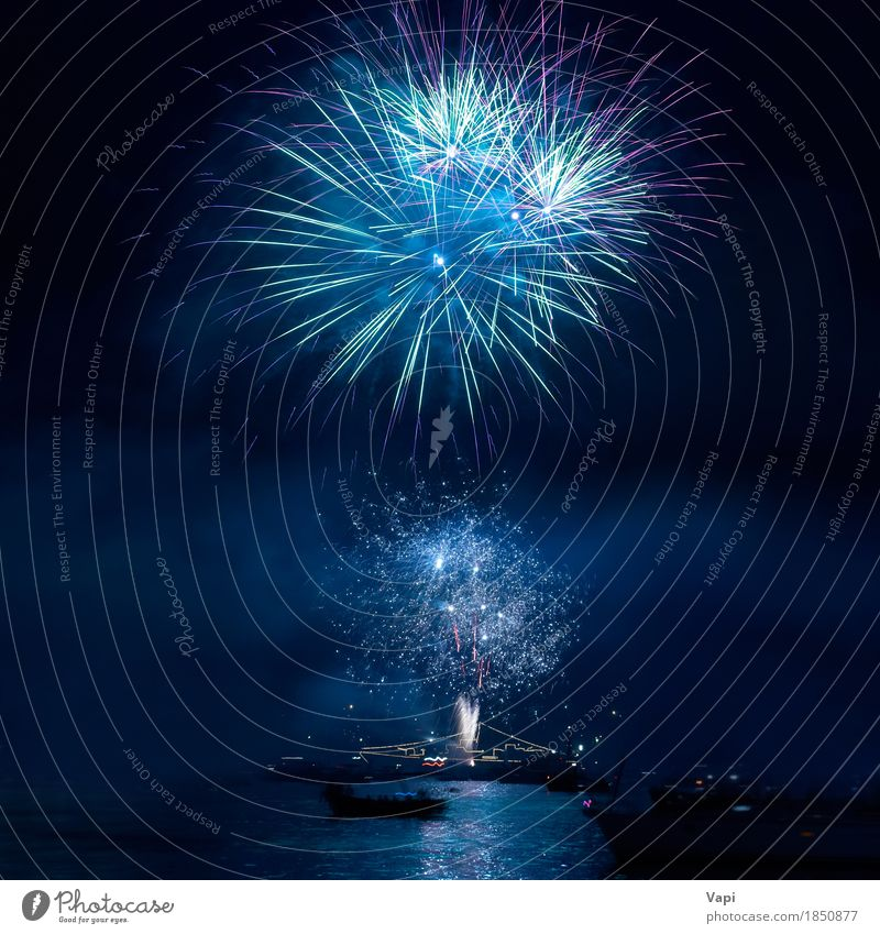 Colorful fireworks on the black sky Sky Blue Christmas & Advent Colour Green Water White Red Joy Dark Black Yellow Art Freedom Feasts & Celebrations Party