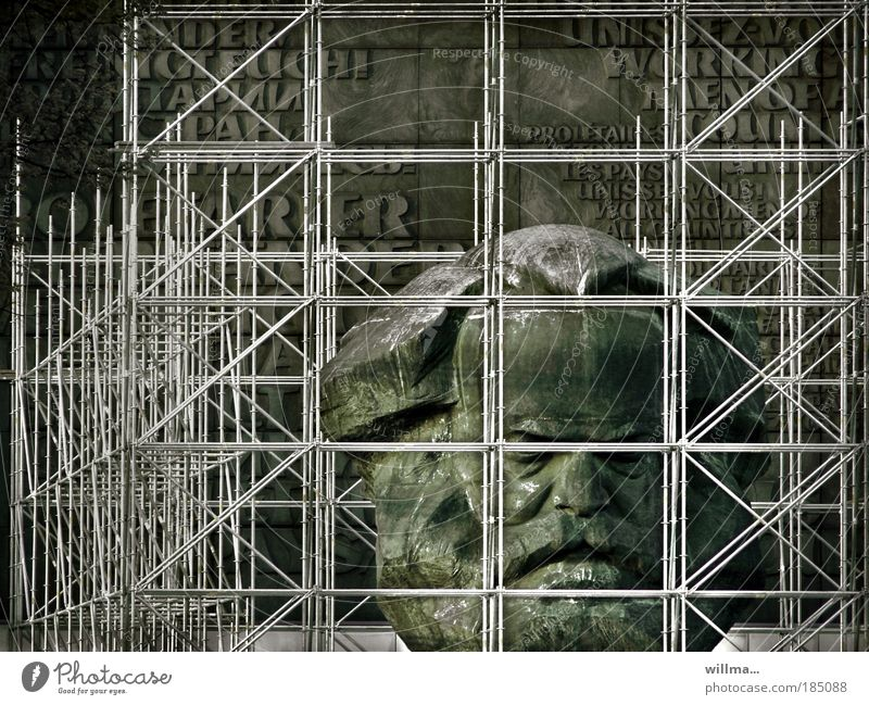 Monument of Karl Marx in the scaffolding - thoughts are free Charles Marx monument Freedom interdiction Scaffolding tear off Restriction Monumental niche Head