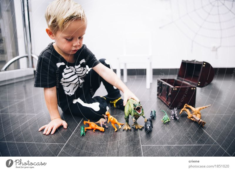 Little caucasian Boy playing with dinosaur toys at home Human being Child Joy Lifestyle Boy (child) Playing Small Infancy Smiling Cute Education Intellect Home