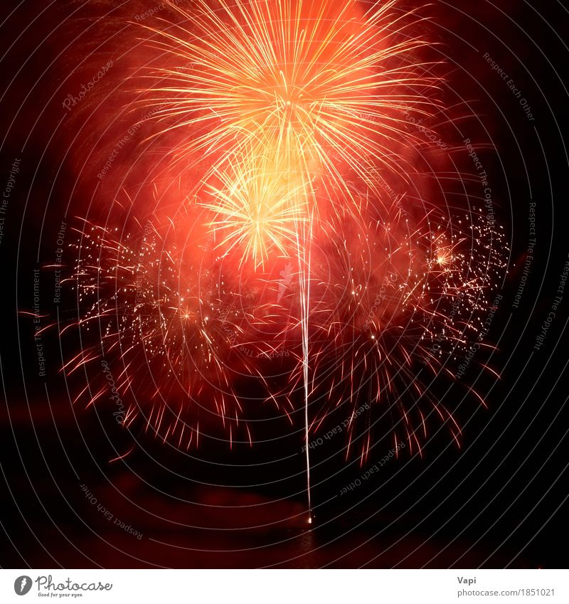 Red colorful fireworks on the black sky Sky Christmas & Advent Colour White Red Joy Dark Black Yellow Art Freedom Feasts & Celebrations Party Design Pink Bright
