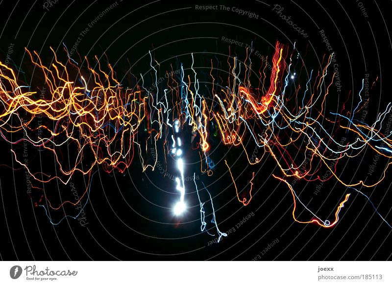 light waves Event Shows Movement Crazy Black Strip of light Colour photo Multicoloured Experimental Copy Space top Neutral Background Night