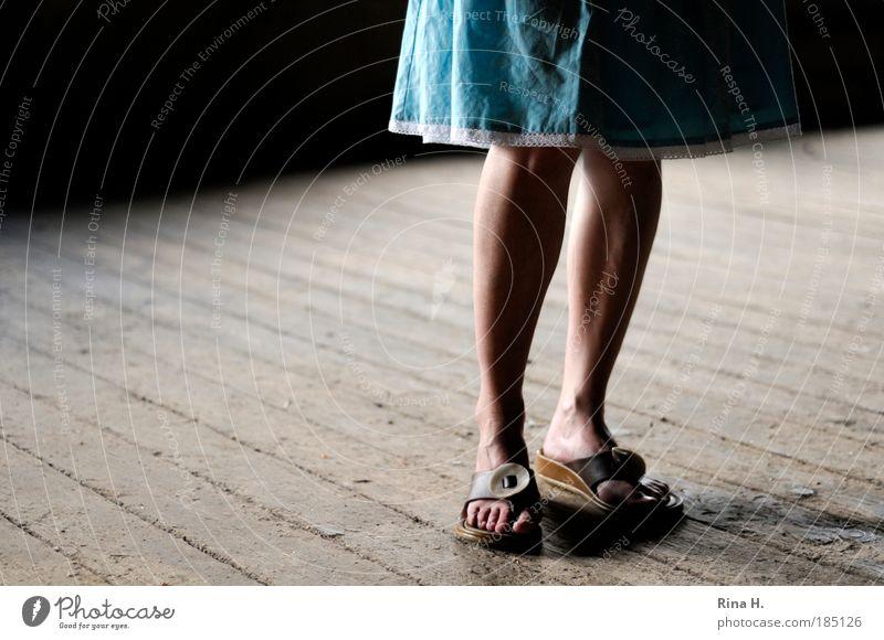 Woman Blue Calm Adults Feminine Legs Feet Footwear Natural Wait Authentic Stand Floor covering Hope Idea Thin