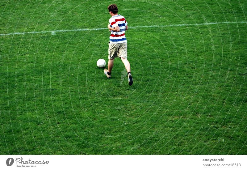 Human being Man Green Sports Meadow Soccer Walking Running Ball