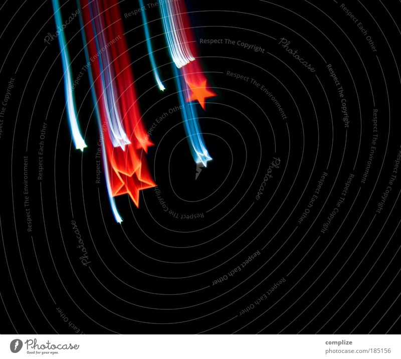 star thaler Design New Year's Eve Technology Stars Blue Red Comet Long exposure Christmas decoration Holy Colour photo Interior shot Experimental Abstract