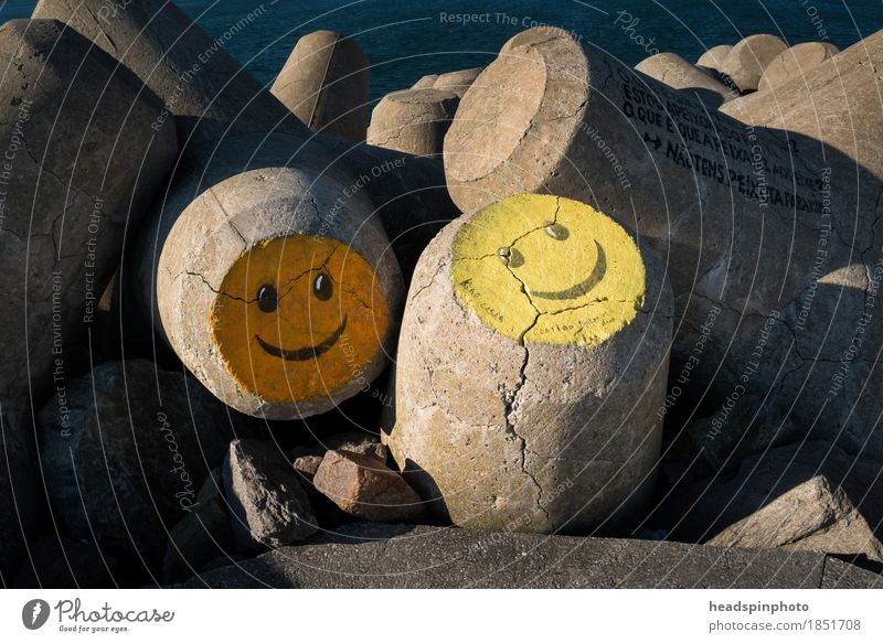 Two smileys on concrete in Aveiro, Portugal Beach Deserted Manmade structures Sign Positive Emotions Joy Happy Happiness Contentment Spring fever Enthusiasm