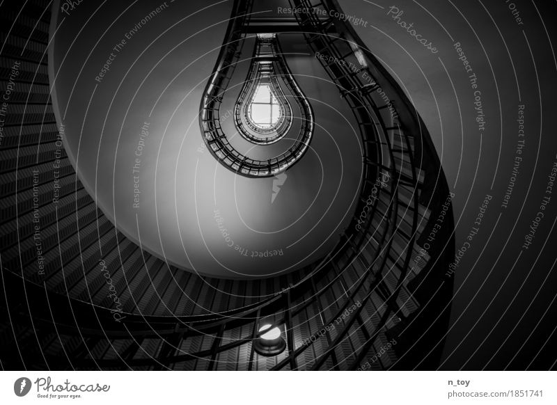 Light Bulb House (Residential Structure) Building Architecture Stairs Illuminate Historic Tall Gray Black White Serene Calm Idea Moody Staircase (Hallway)