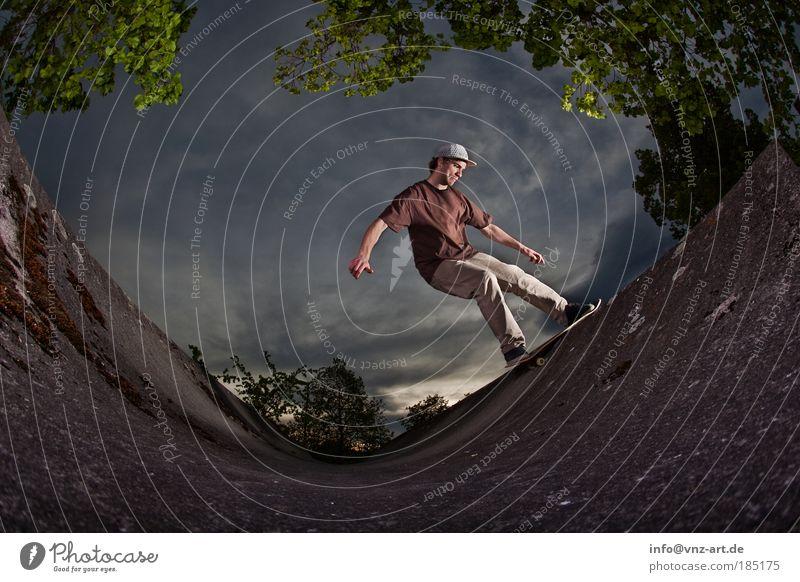 skateboard ramp Skateboarding Sky Sports Action Threat Fisheye miniramp Light Shadow Clouds Nerviness