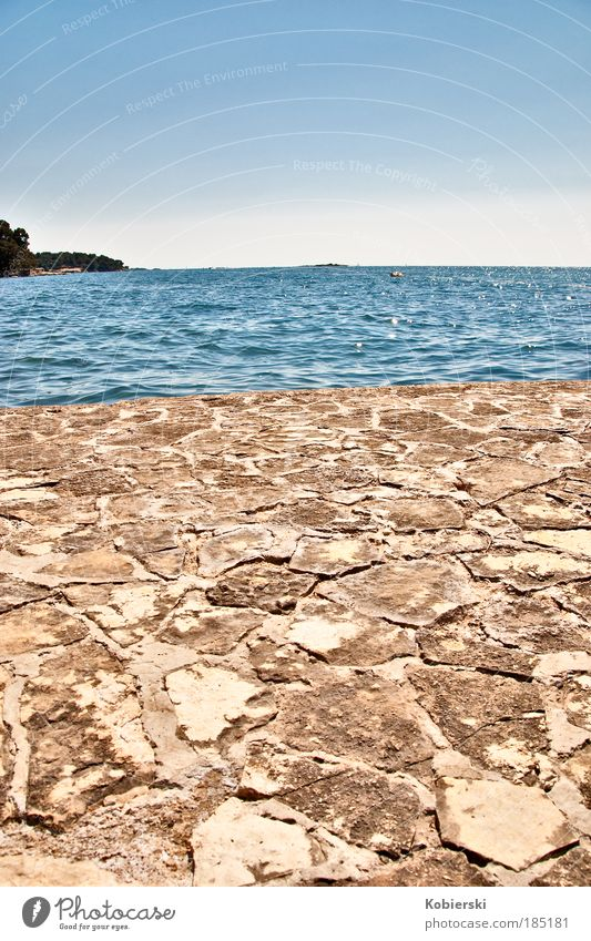 2 Worlds Water Summer Beautiful weather Coast Ocean Adriatic Sea Fishing village Port City Old town Deserted Mole Wall (barrier) Wall (building) Stone