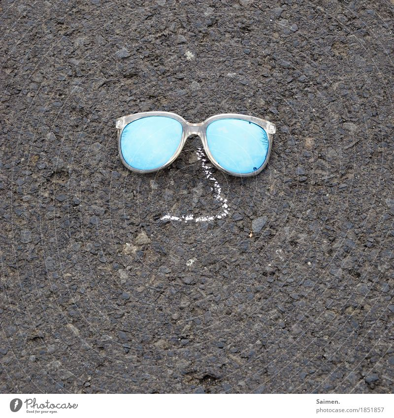 phantom Nose Kitsch Painted Asphalt Sunglasses Street Chalk Colour photo Subdued colour Exterior shot Close-up Detail Abstract Copy Space left Copy Space right