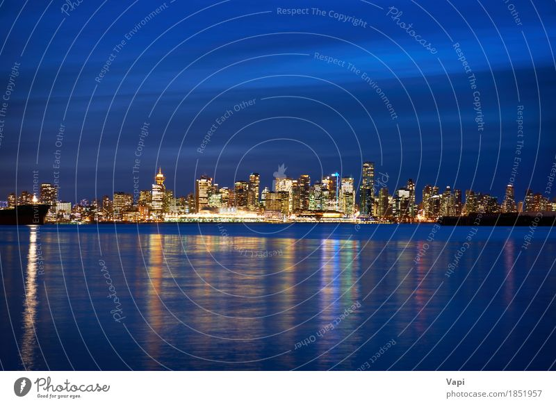 Night city, panoramic scene of downtown Sky Vacation & Travel Blue City Water Ocean Landscape House (Residential Structure) Black Architecture Yellow Building Tourism Orange Waves Modern