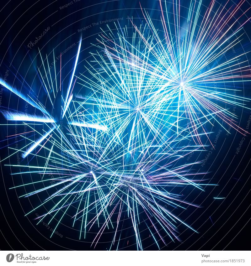 Blue colorful fireworks on the black sky Sky Christmas & Advent Colour White Joy Dark Black Art Feasts & Celebrations Party Design Pink Bright Decoration New