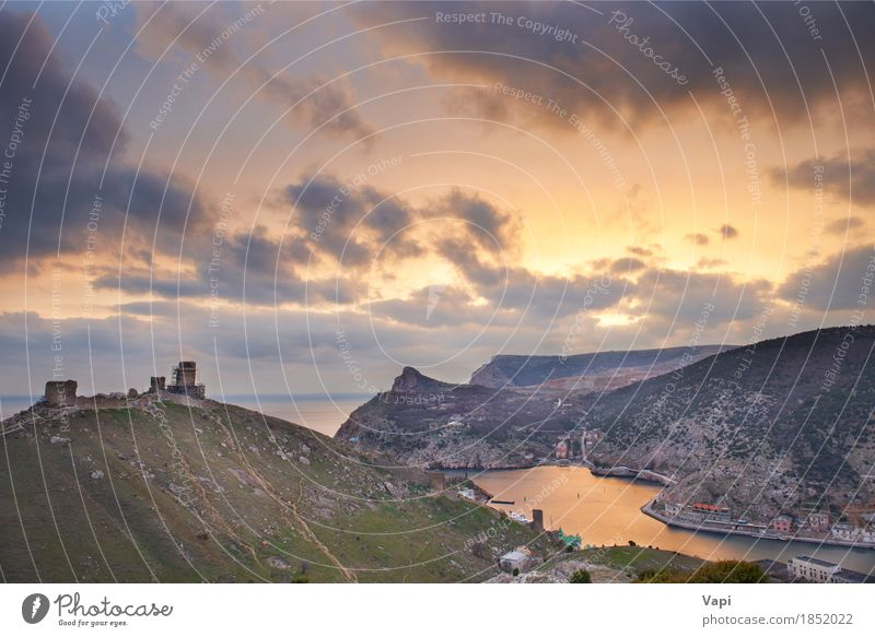 Ancient greek castle on the coast Sky Nature Vacation & Travel Old Blue City Summer Green Water Sun Ocean Landscape Red Clouds Mountain Environment