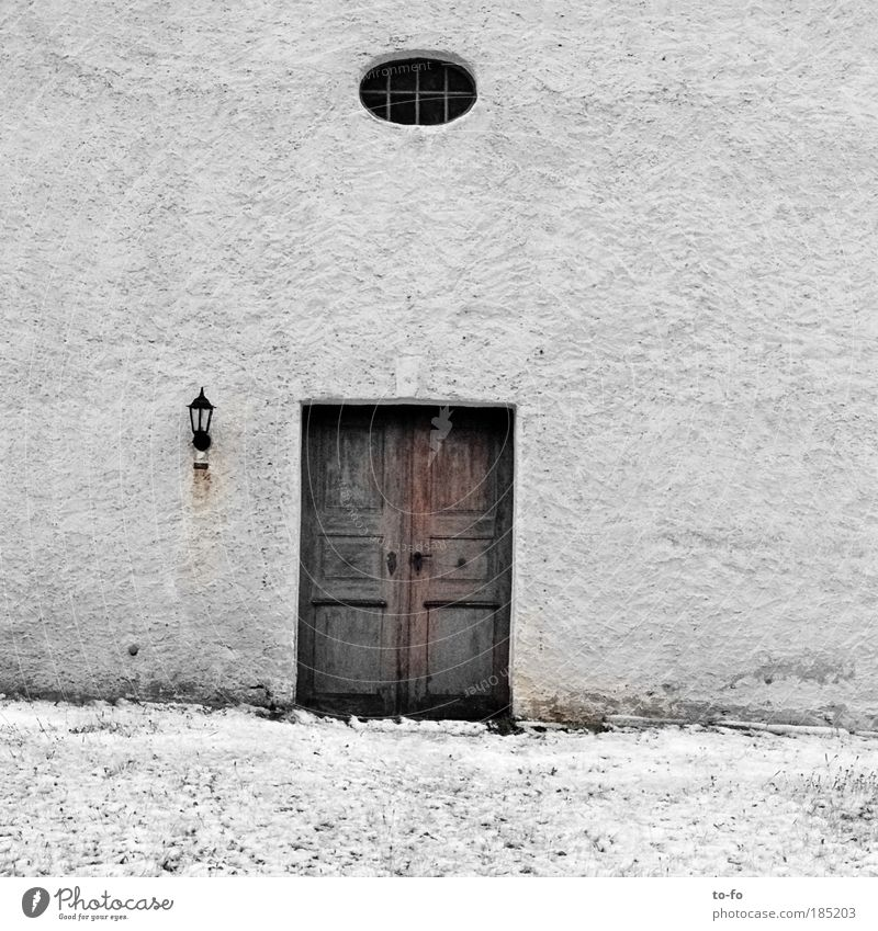 church door Village Church Window Door Old Gray White Snow Wall (building) Subdued colour Exterior shot Day