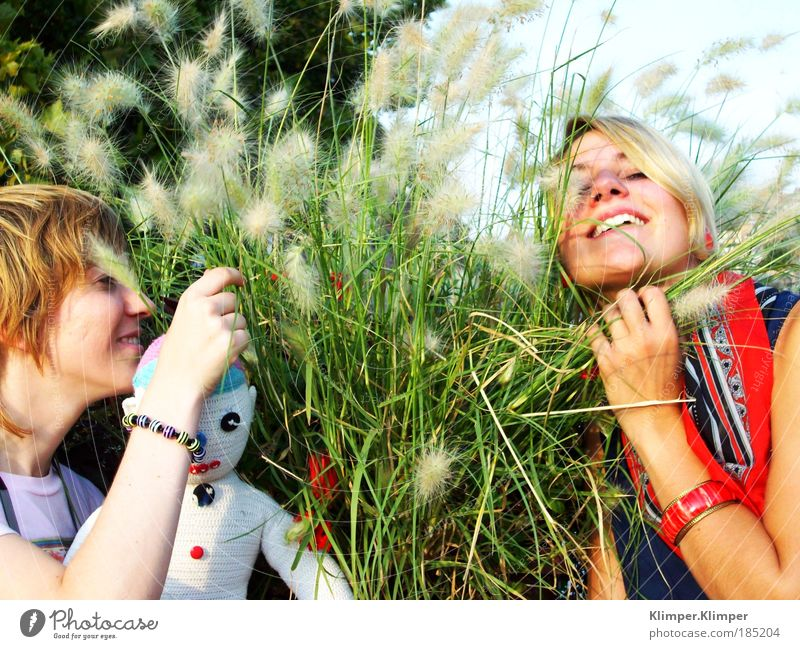 Human being Nature Youth (Young adults) Plant Summer Vacation & Travel Odor Feminine Playing Blossom Grass Happy Friendship Contentment Blonde