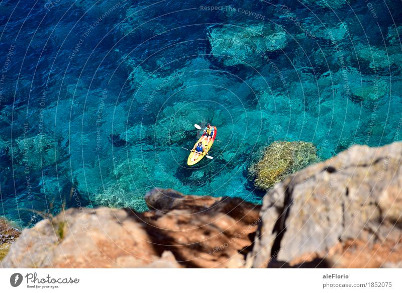 Floating kayak Human being Nature Vacation & Travel Blue Summer Green Water Sun Ocean Relaxation Beach Sports Coast Freedom Couple Rock