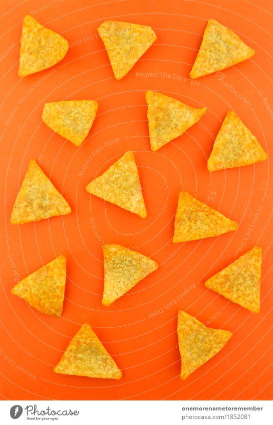 a nacho man Art Work of art Esthetic Flat bread Crisps Orange Unhealthy Fast food Fat Calorie Rich in calories Triangle Many Snack Snackbar Colour photo