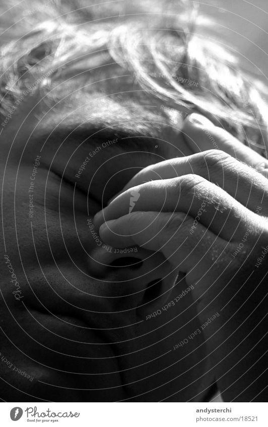 headaches Headache Hand Fingers Light Man Pain Black & white photo Face Shadow razed