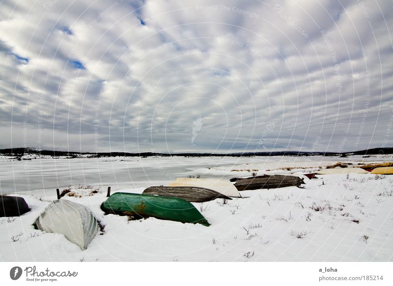 deep sleep Landscape Water Sky Clouds Weather Ice Frost Snow Grass Lakeside Navigation Fishing boat Line Old Authentic Simple Fluid Infinity Cold Wet Natural