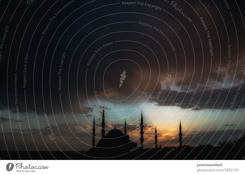 Dramatic view on Sultan Ahmet Mosque before the thunderstorm Sky Old Colour Beautiful Landscape Clouds Architecture Religion and faith Building Vantage point